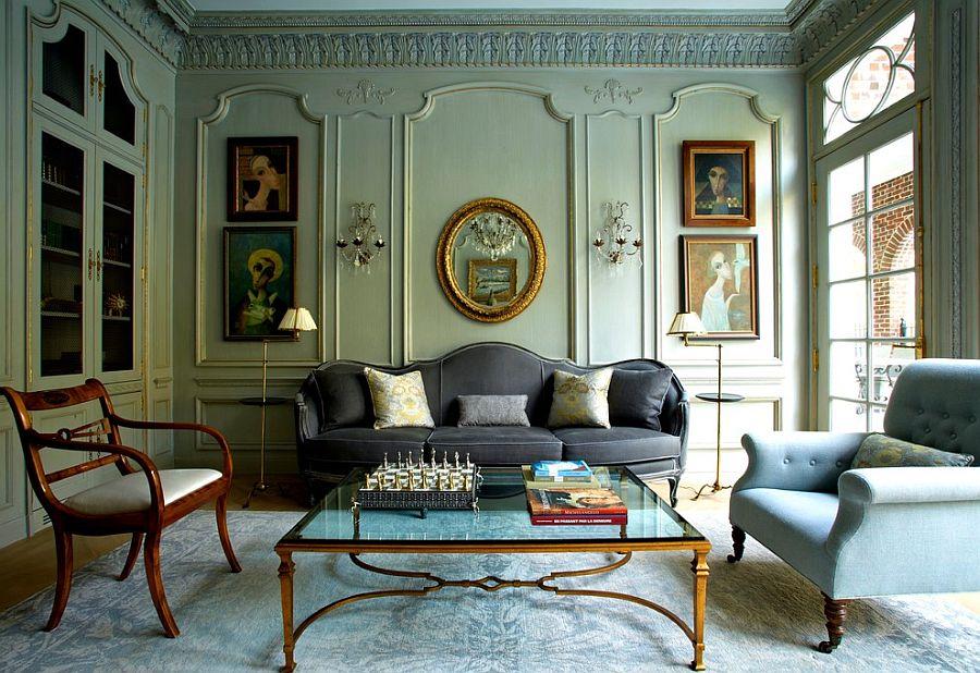 Salon de style victorien ; Idées de décoration peinture et papier peint