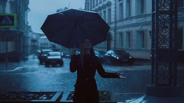 fille, parapluie, pluie
