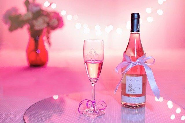 vin rose, champagne, fête